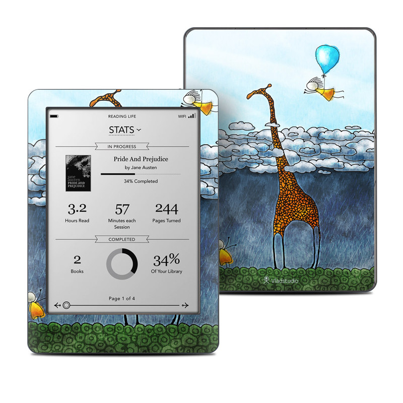 Kobo Glo Skin design of Giraffe, Sky, Tree, Water, Branch, Giraffidae, Illustration, Cloud, Grassland, Bird with blue, gray, yellow, green colors