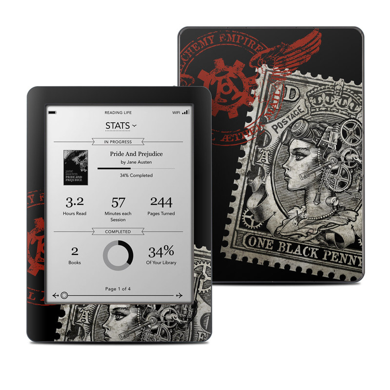 Kobo Glo Skin design of Font, Postage stamp, Illustration, Drawing, Art with black, gray, red colors