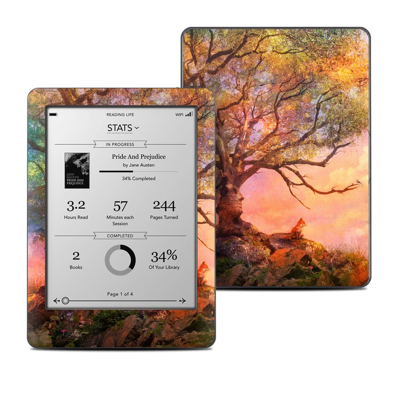 Kobo Glo Skin design of Nature, Tree, Sky, Natural landscape, Branch, Leaf, Woody plant, Trunk, Landscape, Plant with pink, red, black, green, gray, orange colors