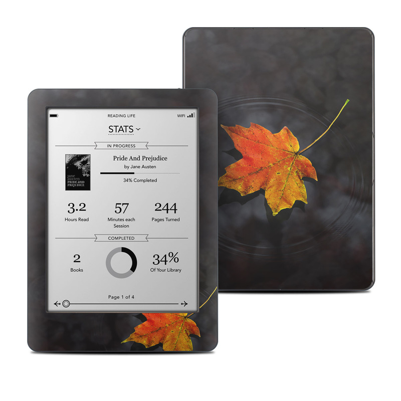 Kobo Glo Skin design of Leaf, Maple leaf, Tree, Black maple, Sky, Yellow, Deciduous, Orange, Autumn, Red with black, red, green colors