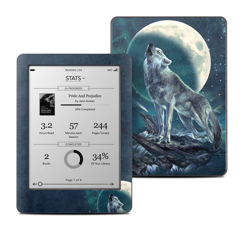 Kobo Glo Skin design of Wolf, Red wolf, Canidae, Coyote, Moon, Canis, canis lupus tundrarum, Wildlife, Carnivore, Celestial event with black, gray, blue, yellow, pink colors