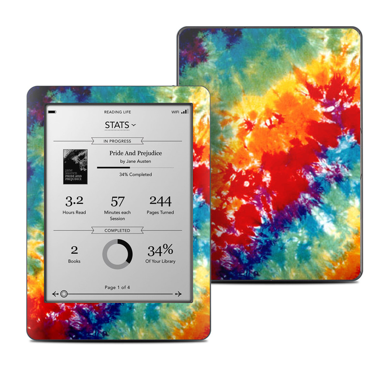 Kobo Glo Skin design of Orange, Watercolor paint, Sky, Dye, Acrylic paint, Colorfulness, Geological phenomenon, Art, Painting, Organism with red, orange, blue, green, yellow, purple colors