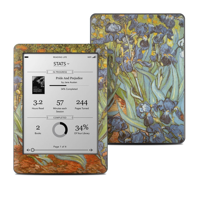 Kobo Glo Skin design of Painting, Plant, Art, Flower, Iris, Modern art, Perennial plant with gray, green, black, red, blue colors