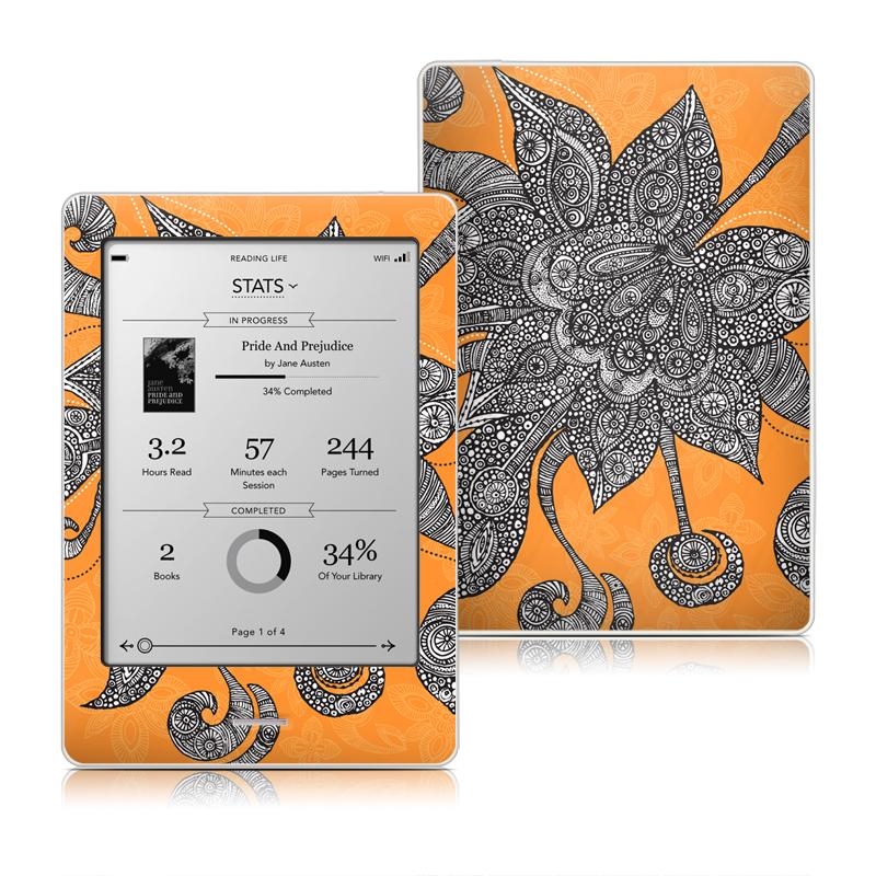 Orange Flowers Kobo eReader Touch Skin