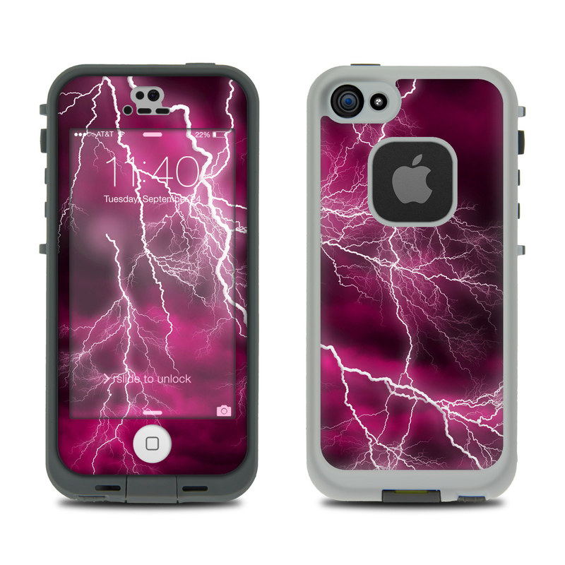 LifeProof iPhone SE, 5s fre Case Skin design of Thunder, Lightning, Thunderstorm, Sky, Nature, Purple, Red, Atmosphere, Violet, Pink with pink, black, white colors