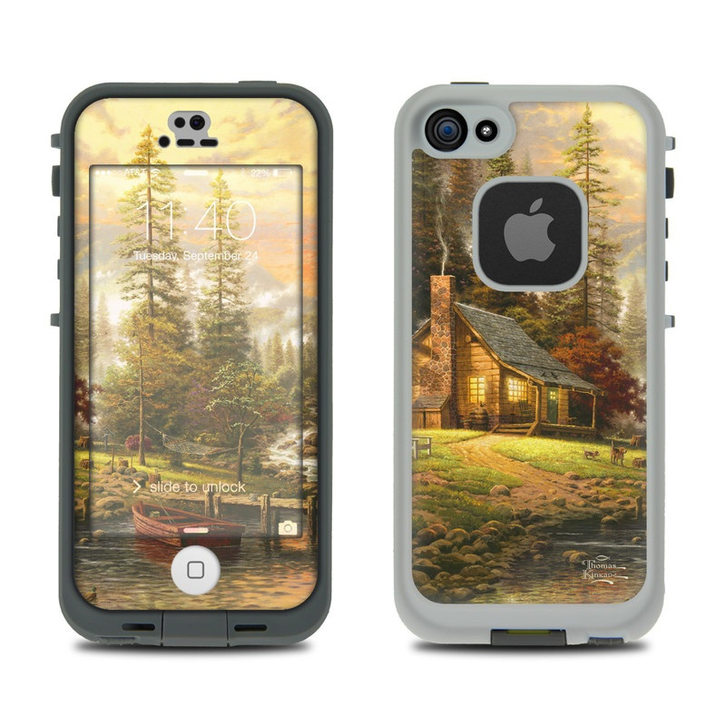 LifeProof iPhone SE, 5s fre Case Skin design of Natural landscape, Nature, Painting, Tree, Landscape, Morning, Sky, Biome, Sunlight, Forest with orange, red, green, brown colors