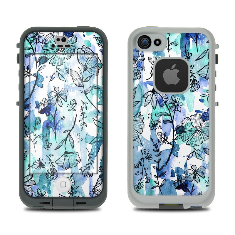 LifeProof iPhone SE 1st Gen, 5s fre Case Skin design of Blue, Pattern, Turquoise, Aqua, Design, Textile, Wildflower, Plant, Wrapping paper, Gift wrapping with blue, white, black, purple colors