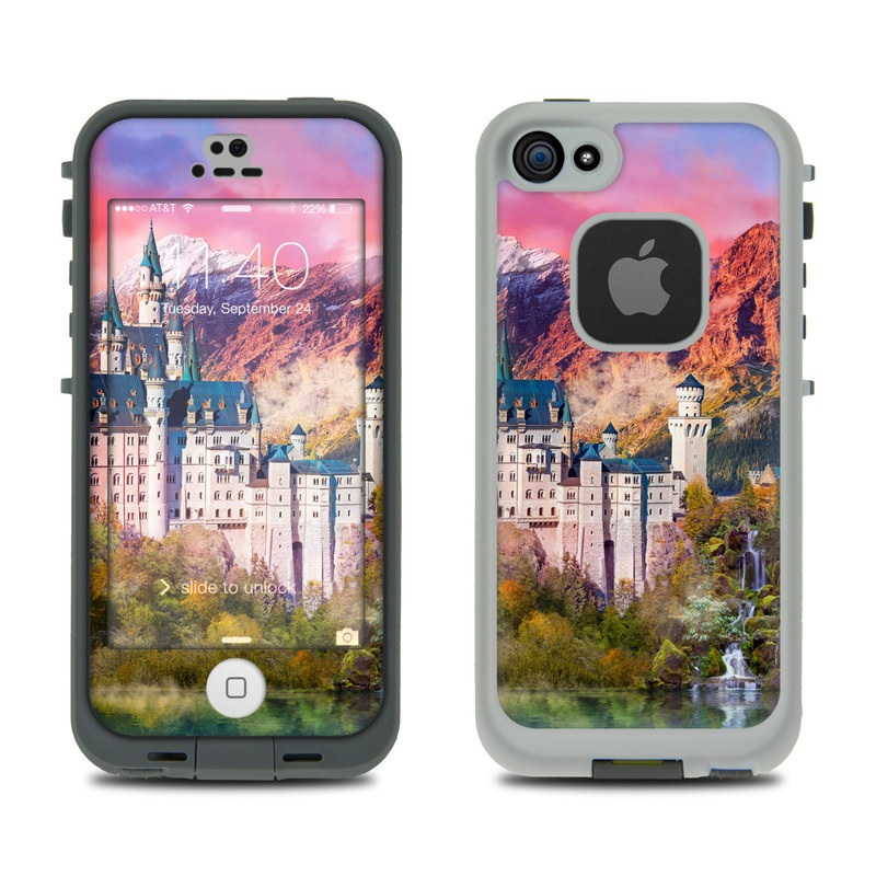 LifeProof iPhone SE, 5s fre Case Skin design of Natural landscape, Nature, Landmark, Sky, Painting, Landscape, Castle, Mount scenery, Mountain, World with red, blue, white, green, orange, yellow colors