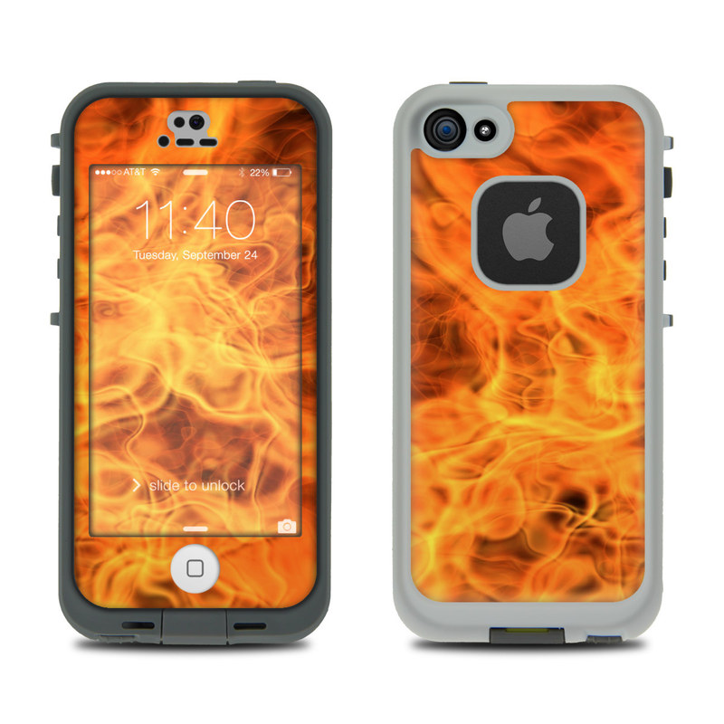 LifeProof iPhone SE, 5s fre Case Skin design of Flame, Fire, Heat, Orange with red, orange, black colors