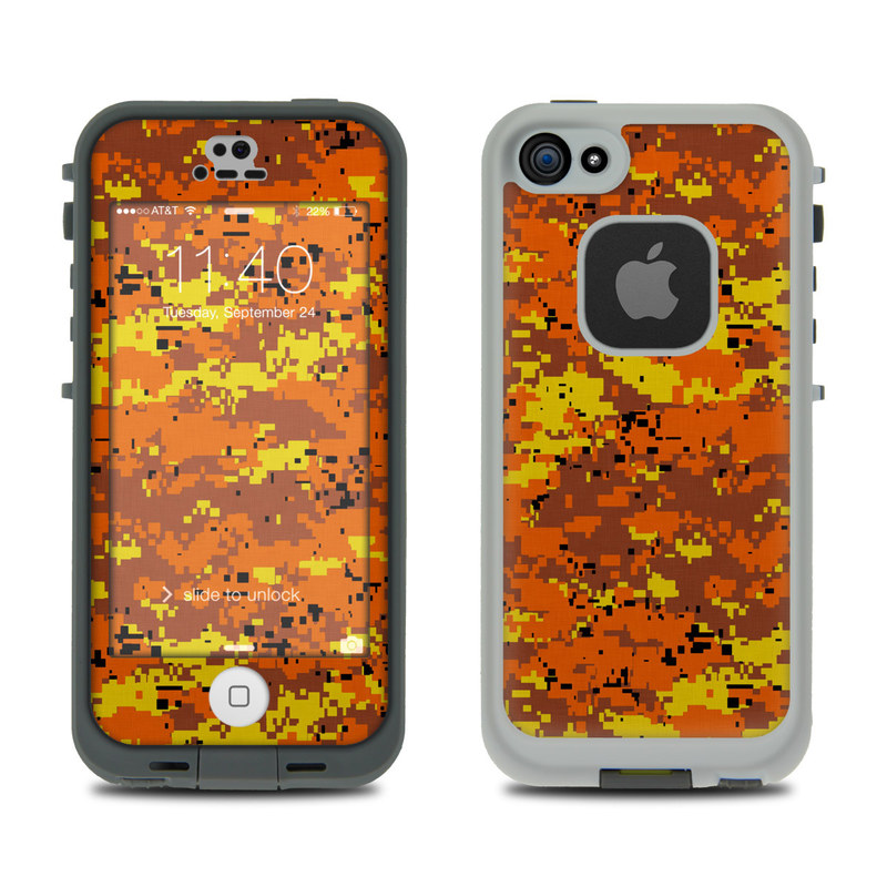 LifeProof iPhone SE 1st Gen, 5s fre Case Skin design of Orange, Yellow, Leaf, Tree, Pattern, Autumn, Plant, Deciduous with red, green, black colors
