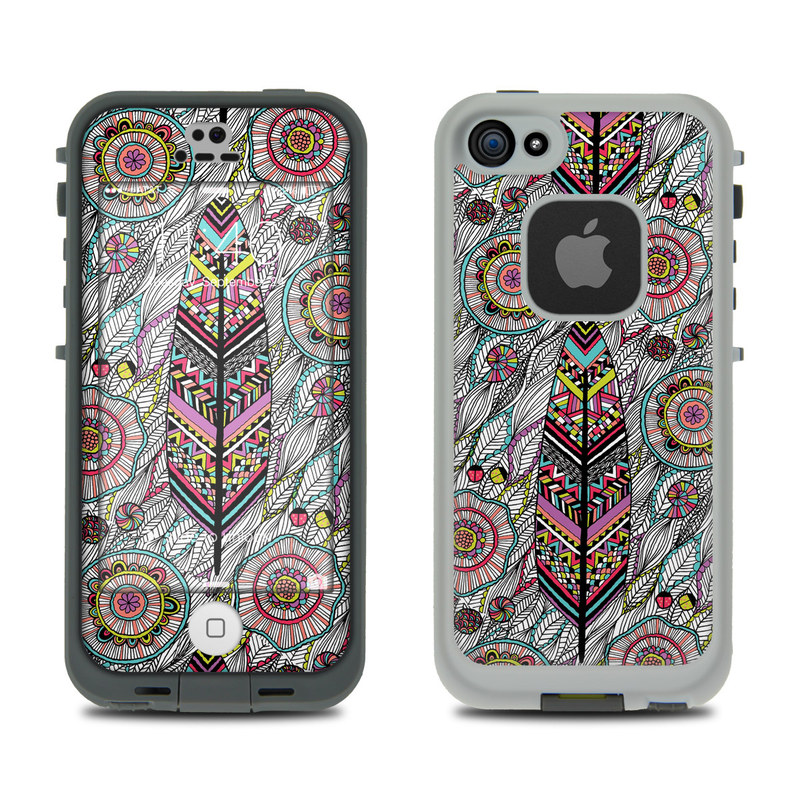 LifeProof iPhone SE 1st Gen, 5s fre Case Skin design of Pattern, Psychedelic art, Visual arts, Motif, Design, Art, Textile, Paisley, Drawing with gray, black, red, blue, green, purple colors