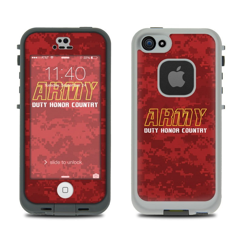 LifeProof iPhone SE 1st Gen, 5s fre Case Skin design of Font, Text, Red, Maroon, Logo, Graphic design, Graphics, Banner, Brand, Pattern with red, green, gray colors