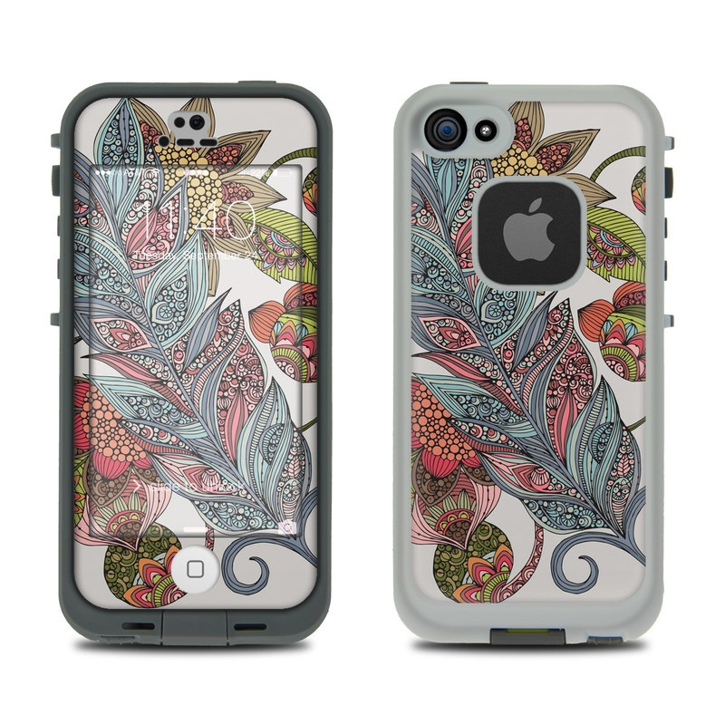 LifeProof iPhone SE 1st Gen, 5s fre Case Skin design of Botany, Plant, Leaf, Pattern, Flower, Illustration, Design, Motif, Protea family, Flowering plant with green, blue, pink, red, yellow, orange, gray, brown colors