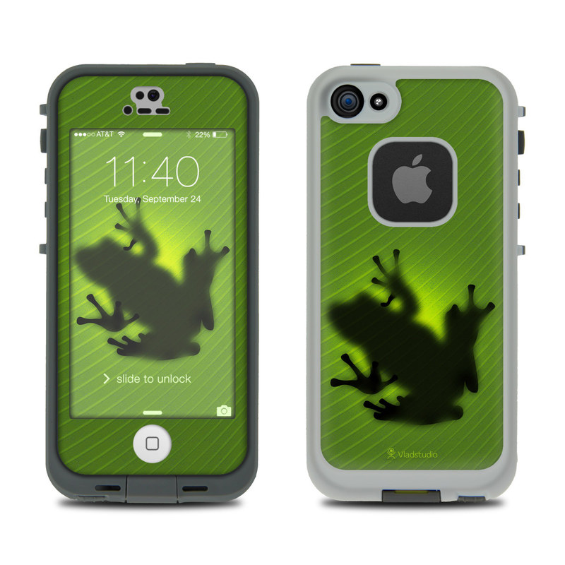 LifeProof iPhone SE, 5s fre Case Skin design of Green, Frog, Tree frog, Amphibian, Shadow, Silhouette, Macro photography, Illustration with green, black colors