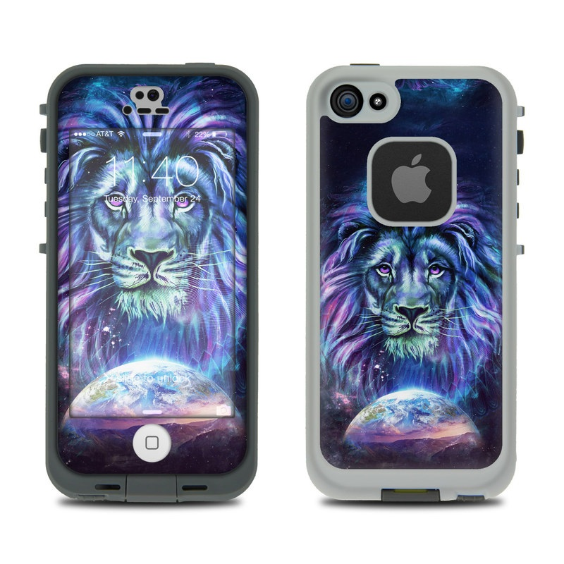 LifeProof iPhone SE 1st Gen, 5s fre Case Skin design of Lion, Felidae, Purple, Wildlife, Big cats, Illustration, Darkness, Space, Painting, Art with purple, blue, green, black, white, red colors