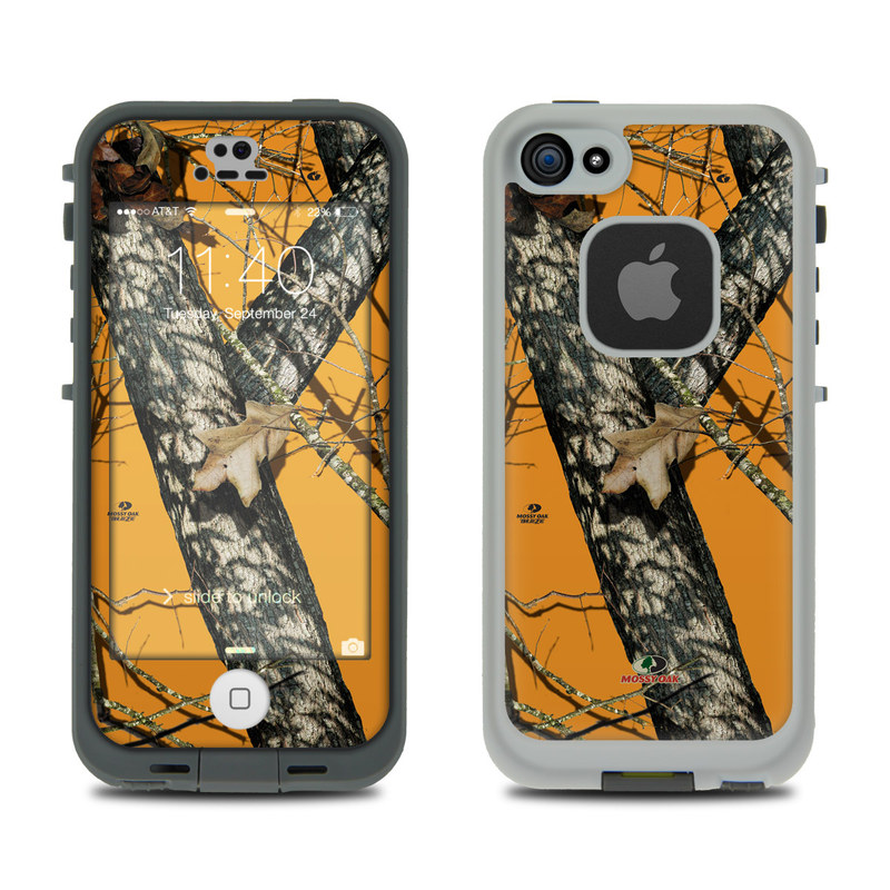 LifeProof iPhone SE, 5s fre Case Skin design of Tree, Branch, Canoe birch, Woody plant, Plant, Leaf, Adaptation, Wildlife, Trunk, Birch family with green, black, gray, red colors