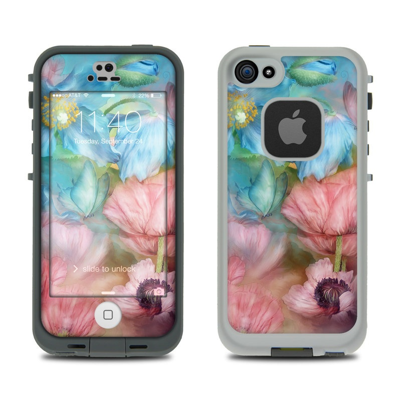 LifeProof iPhone SE 1st Gen, 5s fre Case Skin design of Flower, Petal, Watercolor paint, Painting, Plant, Flowering plant, Pink, Botany, Wildflower, Still life with gray, blue, black, red, green colors