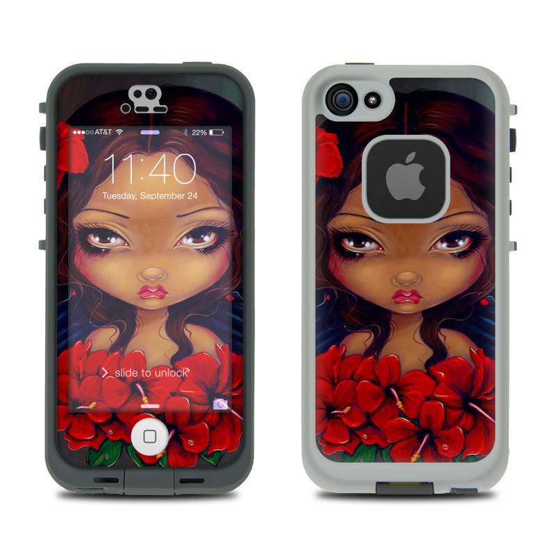 Red Hibiscus Fairy LifeProof iPhone SE, 5s fre Skin