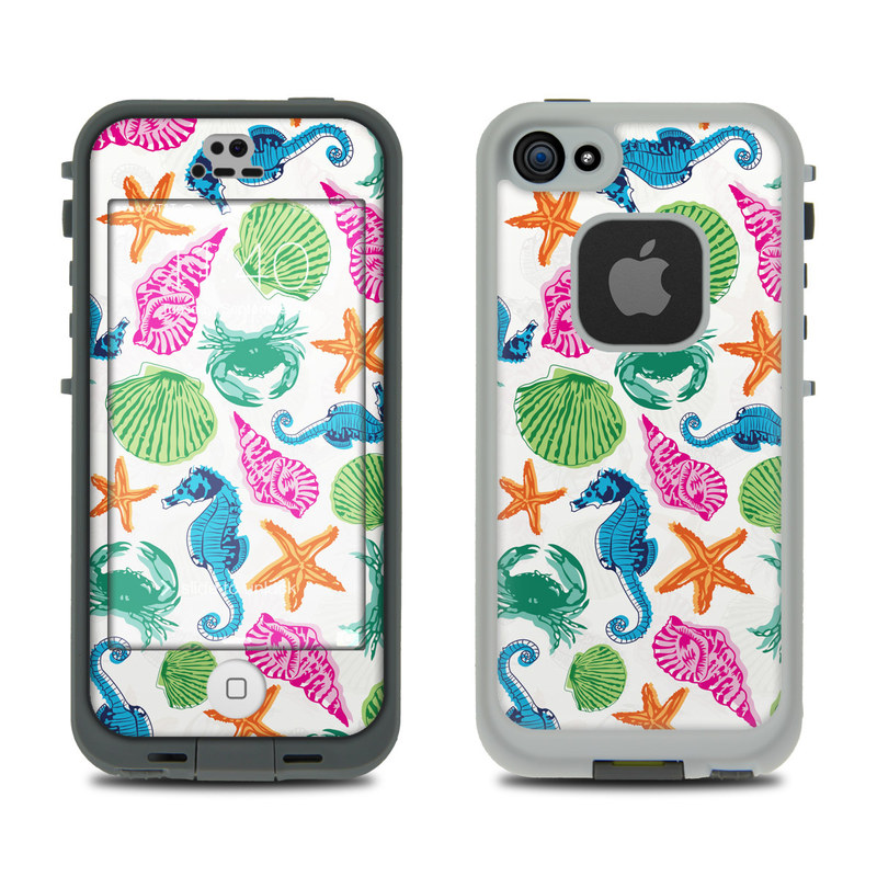 LifeProof iPhone SE, 5s fre Case Skin design of Turquoise, Teal, Organism, Pattern, Design, Clip art, Graphics, Wrapping paper with white, gray, blue, green, purple colors