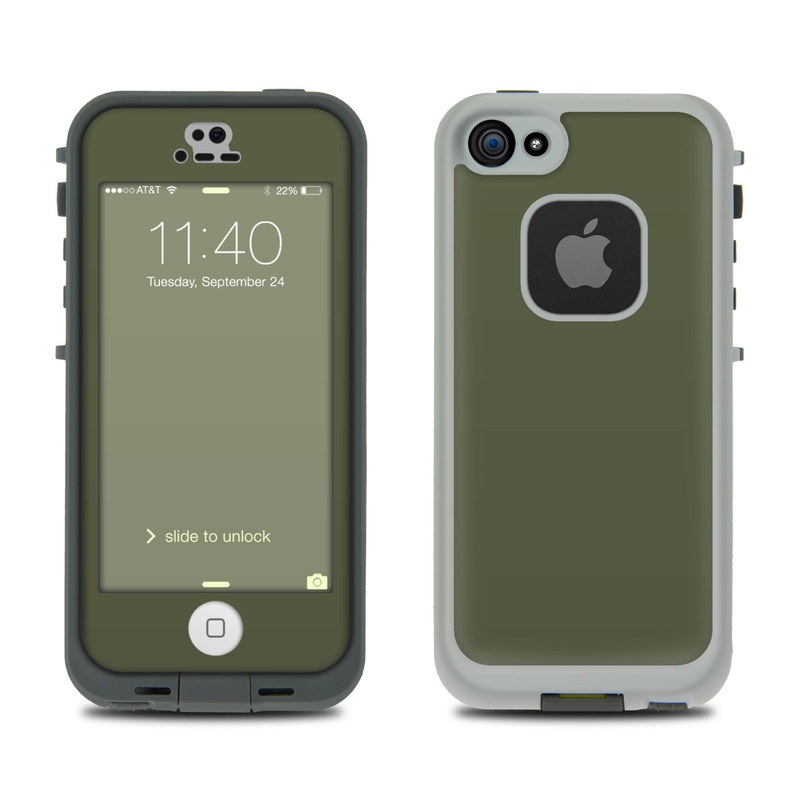 Solid State Olive Drab LifeProof iPhone SE, 5s fre Skin
