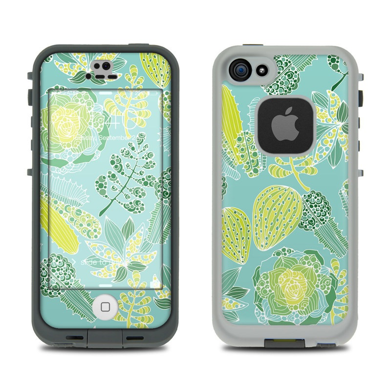 LifeProof iPhone SE 1st Gen, 5s fre Case Skin design of Pattern, Leaf, Green, Botany, Design, Wallpaper, Plant, Organism, Wrapping paper, Motif with blue, green colors