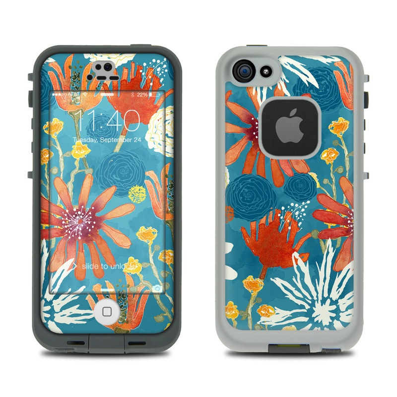 LifeProof iPhone SE, 5s fre Case Skin design of Pattern, Visual arts, Wrapping paper, Design, Wildflower, Floral design, Textile, Flower, Plant, Motif with blue, red, gray, yellow, green colors
