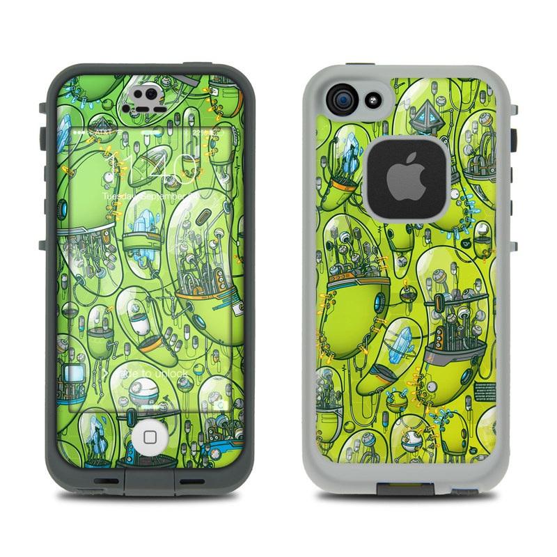 LifeProof iPhone SE 1st Gen, 5s fre Case Skin design of Green, Pattern, Yellow, Design, Illustration, Plant, Art, Graphic design, Urban design with green, blue, gray, yellow, orange colors