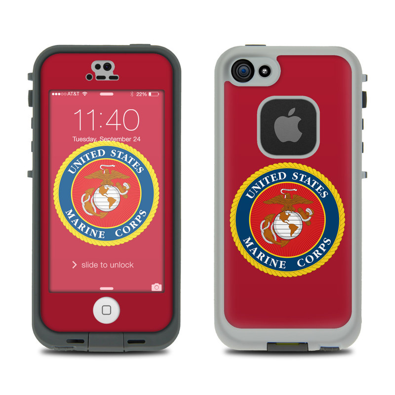 USMC Red LifeProof iPhone SE, 5s fre Case Skin