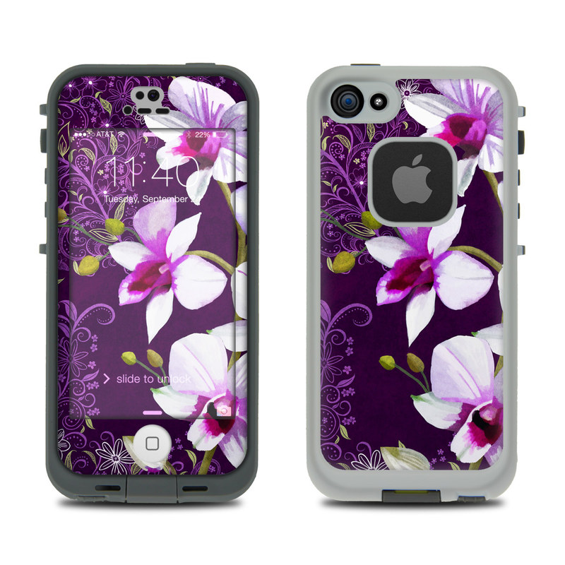 LifeProof iPhone SE, 5s fre Case Skin design of Flower, Purple, Petal, Violet, Lilac, Plant, Flowering plant, cooktown orchid, Botany, Wildflower with black, gray, white, purple, pink colors