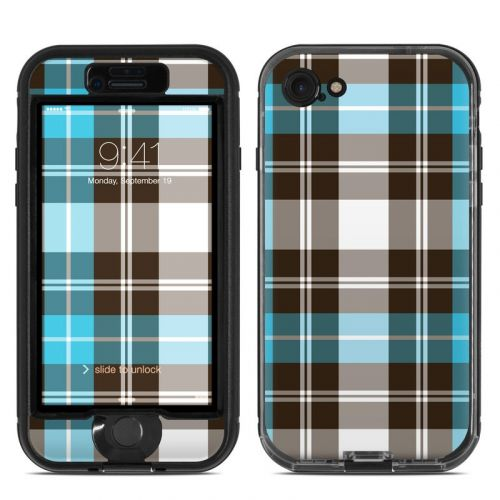 Turquoise Plaid LifeProof iPhone 7 nuud Skin