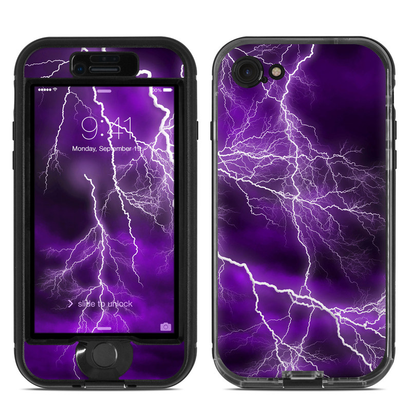LifeProof iPhone 8 nuud Case Skin design of Thunder, Lightning, Thunderstorm, Sky, Nature, Purple, Violet, Atmosphere, Storm, Electric blue with purple, black, white colors
