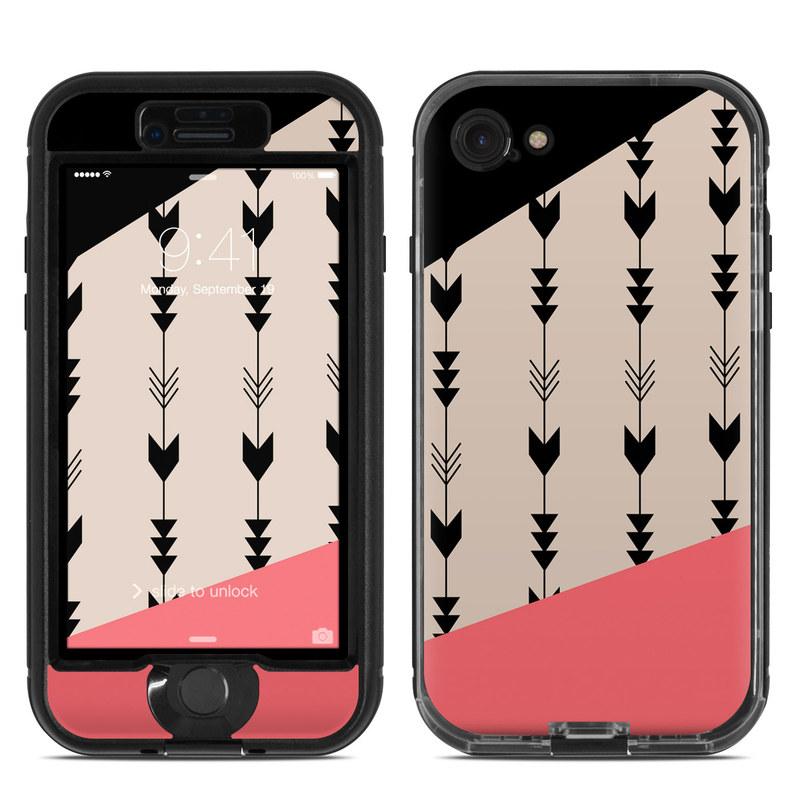 LifeProof iPhone 8 nuud Case Skin design of Line, Pattern, Design, Font, Illustration with black, gray, pink colors