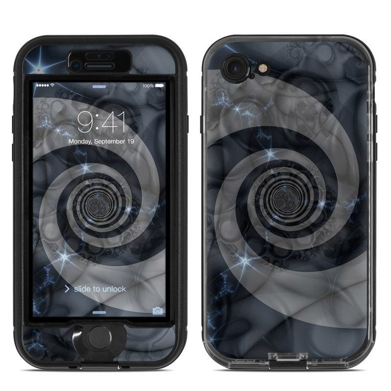 LifeProof iPhone 8 nuud Case Skin design of Eye, Drawing, Black-and-white, Design, Pattern, Art, Tattoo, Illustration, Fractal art with black, gray colors