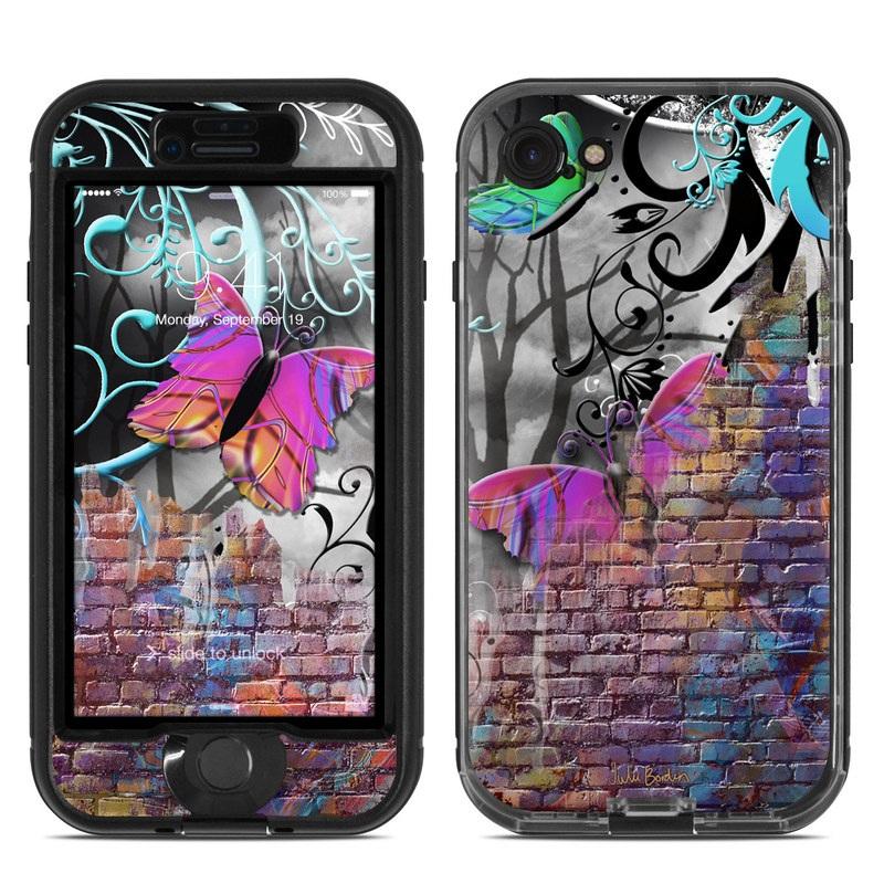 LifeProof iPhone 8 nuud Case Skin design of Purple, Graphic design, Art, Pattern, Graffiti, Organism, Street art, Wall, Font, Illustration with red, black, gray, purple, orange, blue, green colors