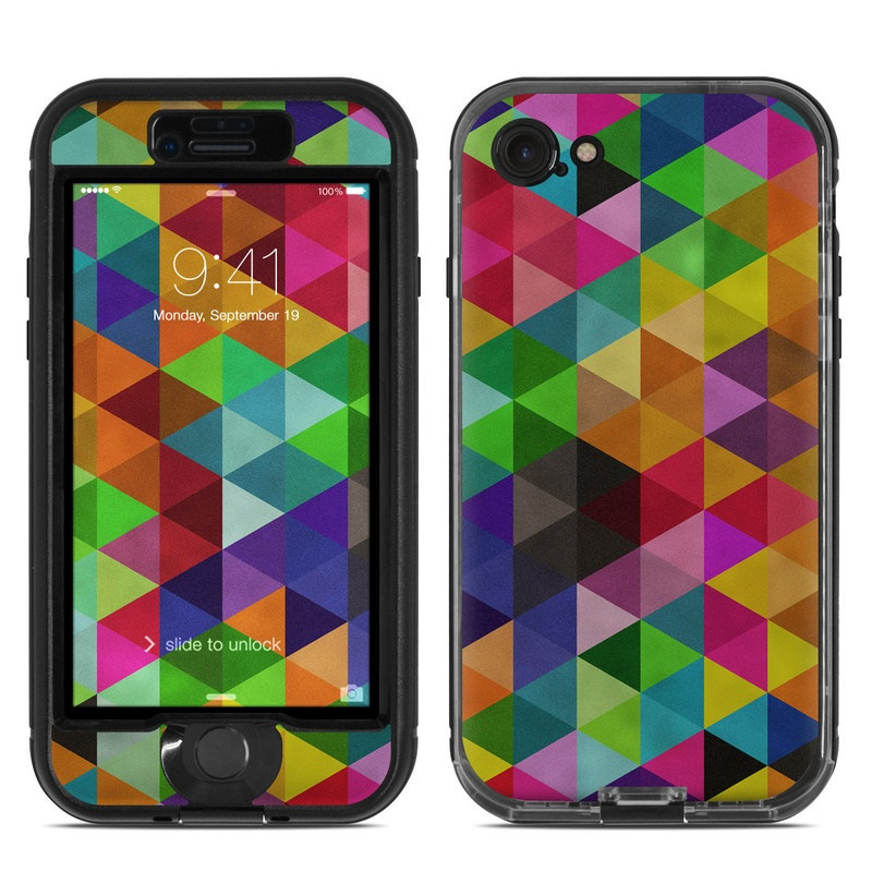 LifeProof iPhone 8 nuud Case Skin design of Pattern, Orange, Purple, Violet, Triangle, Magenta, Line, Design, Psychedelic art, Colorfulness with black, red, green, blue colors