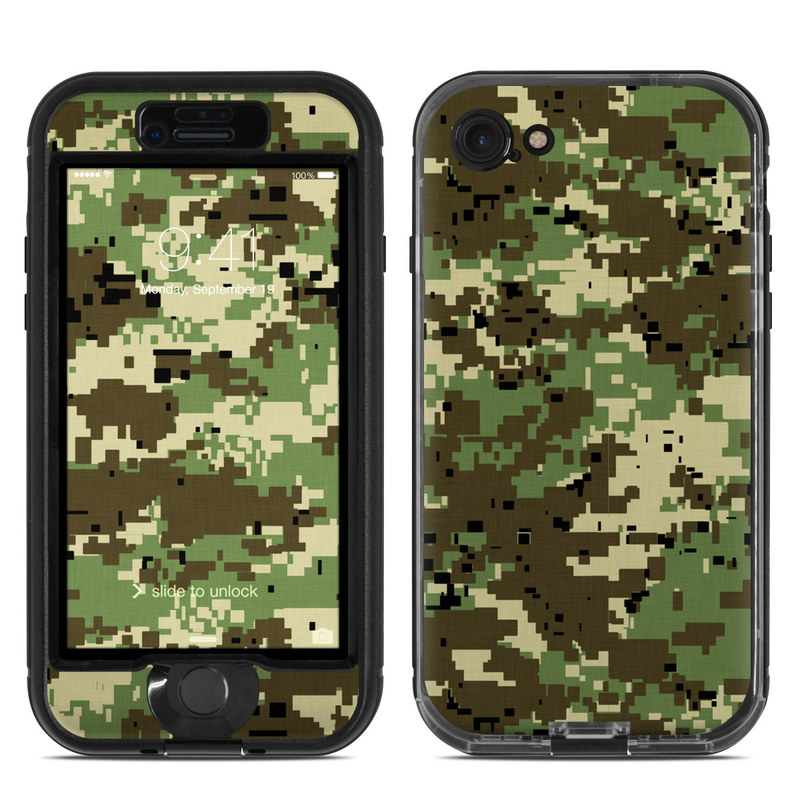LifeProof iPhone 8 nuud Case Skin design of Military camouflage, Pattern, Camouflage, Green, Uniform, Clothing, Design, Military uniform with black, gray, green colors