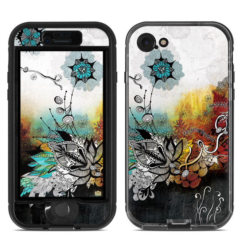 LifeProof iPhone 8 nuud Case Skin design of Graphic design, Illustration, Art, Design, Visual arts, Floral design, Font, Graphics, Modern art, Painting with black, gray, red, green, blue colors