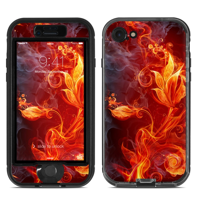 LifeProof iPhone 8 nuud Case Skin design of Flame, Fire, Heat, Red, Orange, Fractal art, Graphic design, Geological phenomenon, Design, Organism with black, red, orange colors
