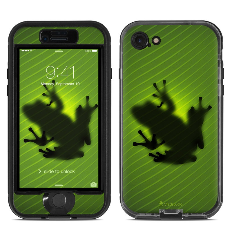 LifeProof iPhone 8 nuud Case Skin design of Green, Frog, Tree frog, Amphibian, Shadow, Silhouette, Macro photography, Illustration with green, black colors