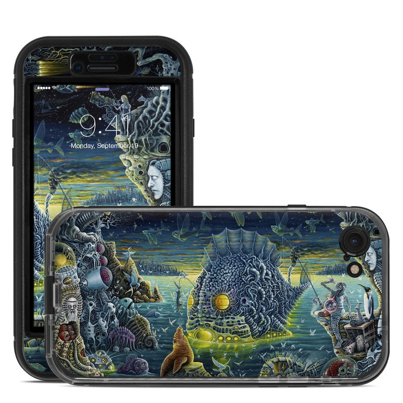 LifeProof iPhone 8 nuud Case Skin design of Organism, Water, Illustration, Art, Painting, Cg artwork, Fiction, Fictional character, Marine biology, Mythology with black, gray, blue, green colors