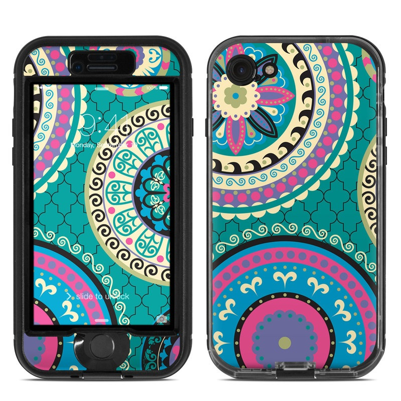 LifeProof iPhone 8 nuud Case Skin design of Pattern, Turquoise, Teal, Circle, Visual arts, Design, Textile, Motif, Psychedelic art, Paisley with blue, gray, black, purple, pink colors