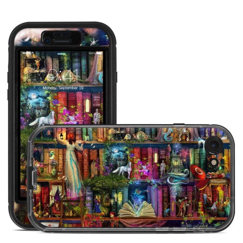 LifeProof iPhone 8 nuud Case Skin design of Painting, Art, Theatrical scenery with black, red, gray, green, blue colors