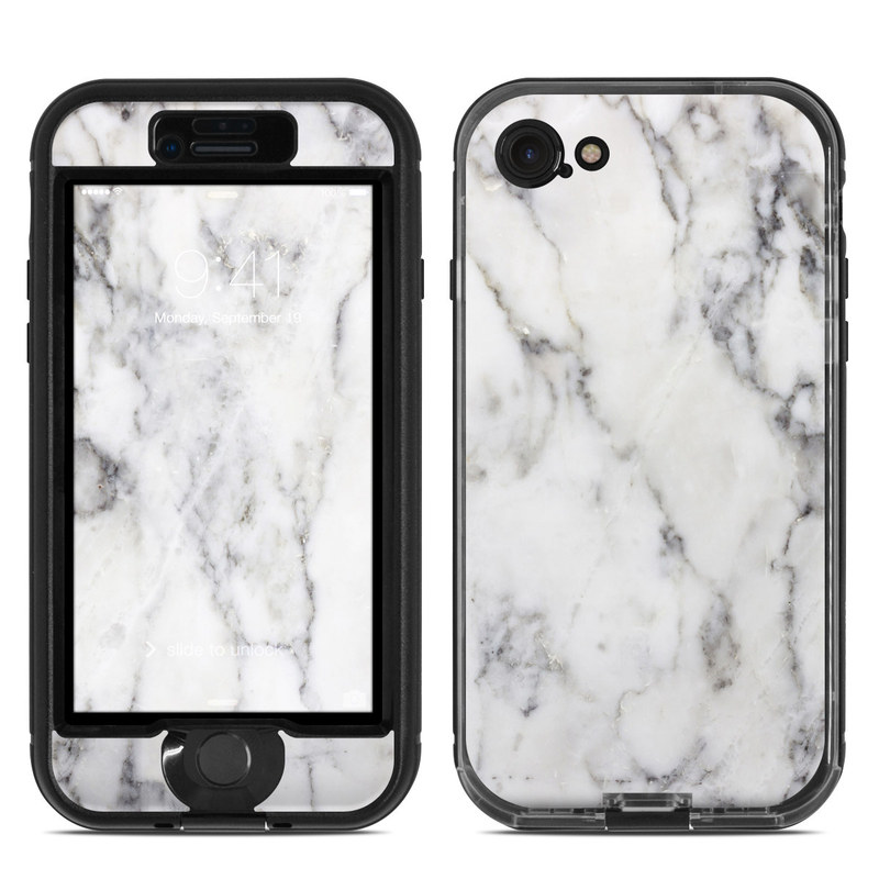 LifeProof iPhone 8 nuud Case Skin design of White, Geological phenomenon, Marble, Black-and-white, Freezing with white, black, gray colors
