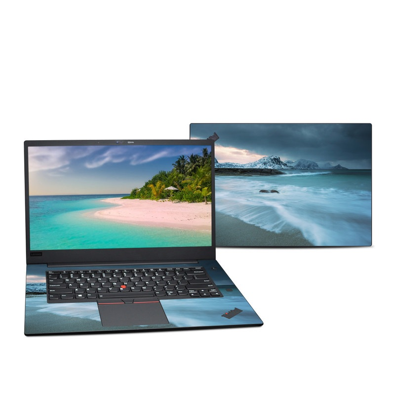 Lenovo ThinkPad X1 Extreme Gen 2 15-inch Skin design of Body of water, Sky, Nature, Sea, Ocean, Wave, Blue, Water, Coast, Wind wave with white, blue, black, orange colors