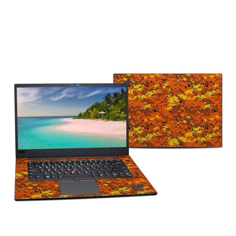 Lenovo ThinkPad X1 Extreme Gen 2 15-inch Skin design of Orange, Yellow, Leaf, Tree, Pattern, Autumn, Plant, Deciduous with red, green, black colors