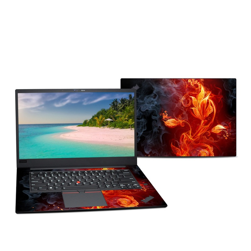 Lenovo ThinkPad X1 Extreme Gen 2 15-inch Skin design of Flame, Fire, Heat, Red, Orange, Fractal art, Graphic design, Geological phenomenon, Design, Organism with black, red, orange colors