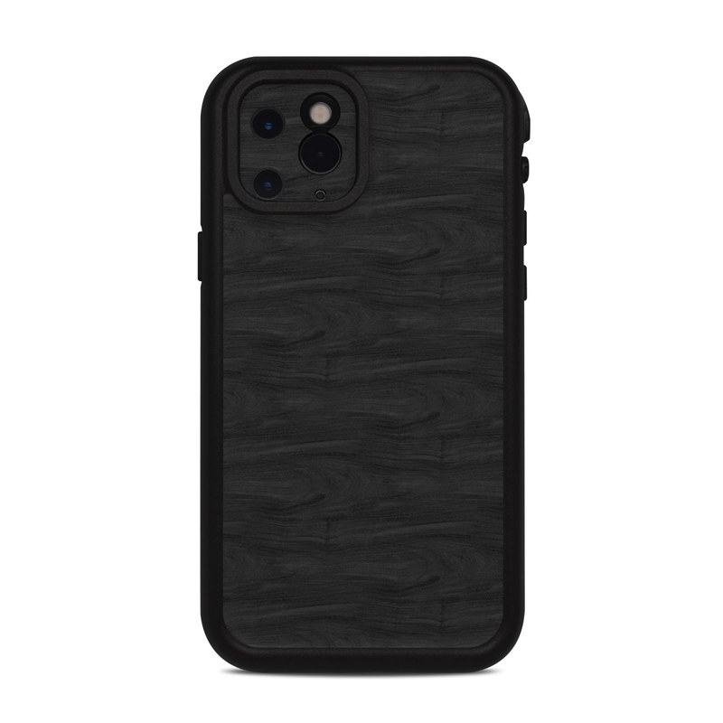 Lifeproof iPhone 11 Pro fre Case Skin design of Black, Brown, Wood, Grey, Flooring, Floor, Laminate flooring, Wood flooring with black colors