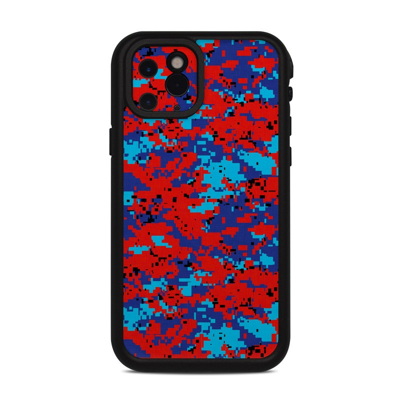 Lifeproof iPhone 11 Pro fre Case Skin design of Blue, Red, Pattern, Textile, Electric blue with blue, red colors
