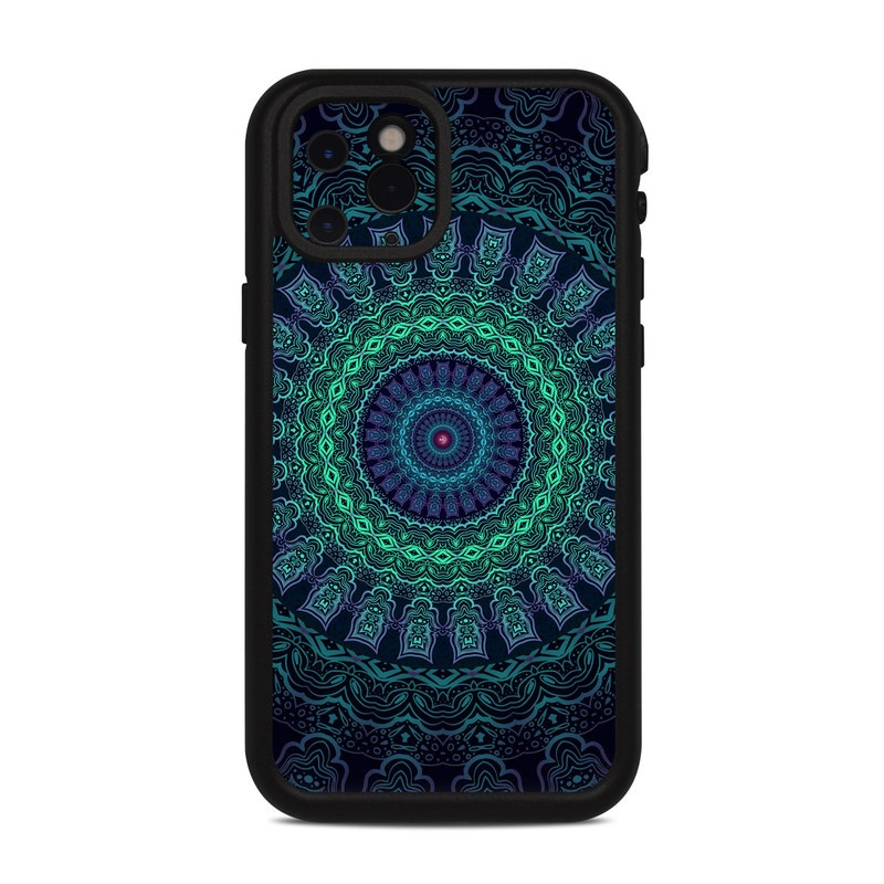 Lifeproof iPhone 11 Pro fre Case Skin design of Colorfulness, Blue, Green, Pattern, Teal, Turquoise, Art, Electric Blue, Aqua, Circle, Majorelle Blue, Visual Arts, Fractal Art, Design, Symmetry, Psychedelic Art, Graphics, Kaleidoscope, Motif with black, green, red colors