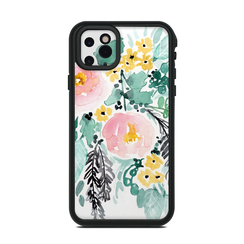 Lifeproof iPhone 11 Pro Max fre Case Skin design of Branch, Clip art, Watercolor paint, Flower, Leaf, Botany, Plant, Illustration, Design, Graphics with green, pink, red, orange, yellow colors
